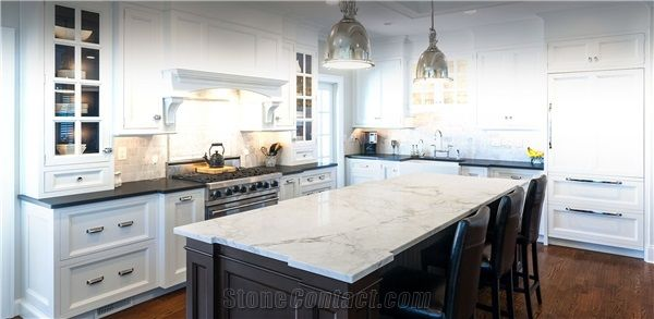 Marble Kitchen Island Top Leathered Absolute Black