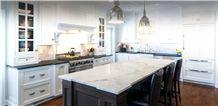 Marble Kitchen Island Top, Leathered Absolute Black Granite Perimeter Countertop