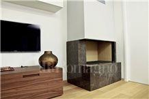 Quartzite Chocolate Modern Style Fireplace