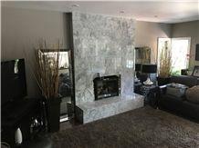 Brazilian Arabescato Marble Fireplace Surround