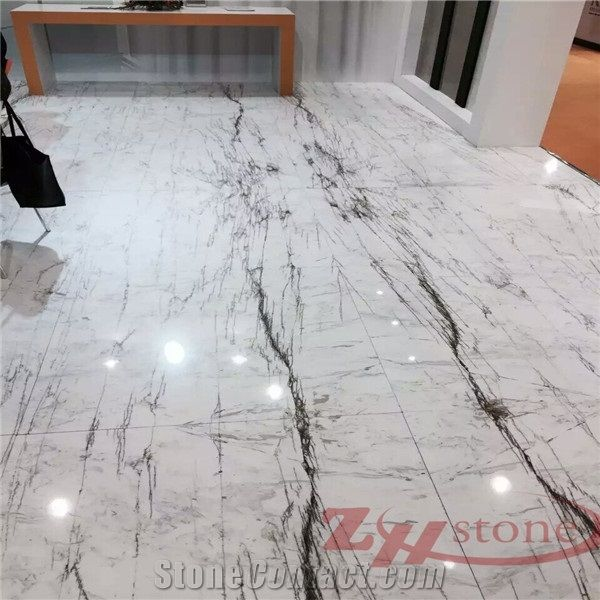 China Natural Top Quality,White Luxury Calacatta Marble For Floor Covering  Tiles,Countertops,Pool,Etc.Valley Gold Vein Marble