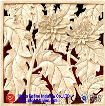 China Beige Marble Flower Relief,Engravings,Relieve,Reliefs,Wall Reliefs,Embossments
