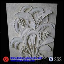 China White Marble Wall Relief Carving with Plant Design,Engravings,Relieve,Embossments,Relief Design,Relief Carving