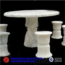 Hand Carving White Marble Garden Table,Table Sets,Exterior Furniture,Garden Tables,Street Furniture