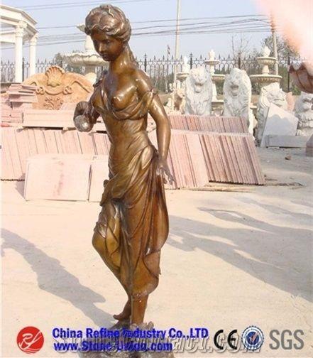 Women Bronze Sculptures Statues Woman With Dog Vase Sculpture Ideas Outdoor