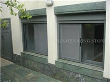 China Green Spray Wave Granite Exterior Window Sill Panel,Verde Ocean Juparana Building Window Frame Covering