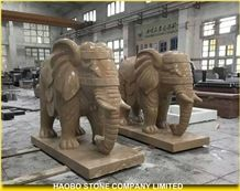 China Factory Yellow Marble Statue, Golden Net Marble Hand Carved Elephant Sculpture Outdoor Decoration, Large Animal Stautes