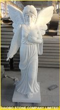 China Manufacturer Oriental Pure White Marble Angel with Wings Statues, Handcarved Religious Maria Sculptures for Cemeteries