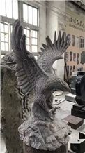 Chinese Dark Grey Granite Eagle Carving Staute, Stone Animal Sculpture, Handcarved Birds Statue