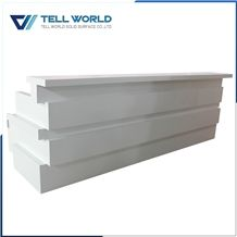 2017 New Design Modern High Gloss Solid Surface Reception Desk for Office