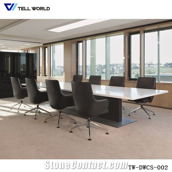 Pure AcrylicModified Acrylic White Rectangle Conference Table For - 10 person conference table