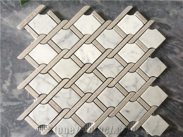 White Carrara With Crema Marfil Mosaic Tile Wall Mosaic