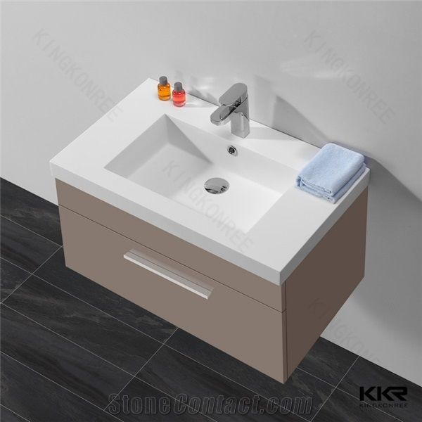 Acrylic Solid Surface Bathroom Sinks With Cabinet Kingkonree One Piece Artificial Stone Countertop Sink