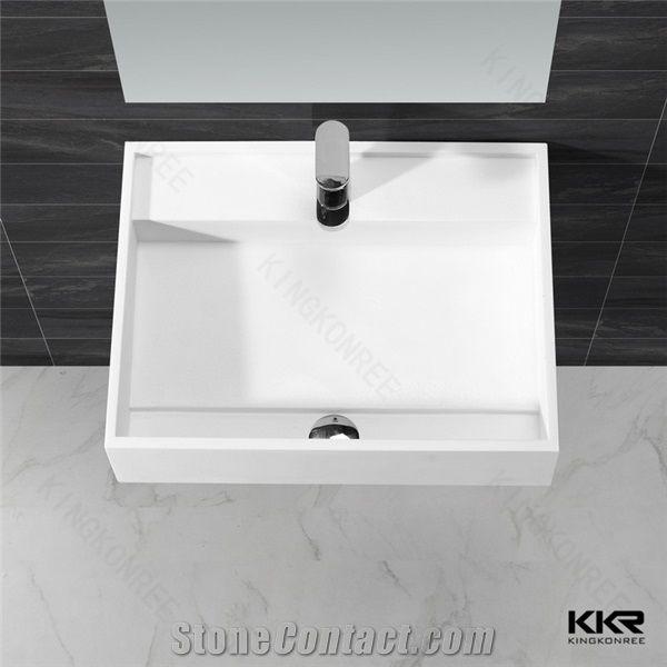 . Design White Solid Surface Bathroom Double Wash Basin  Bathroom