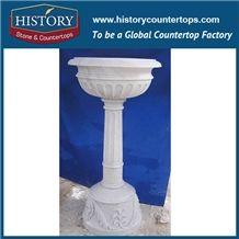Beautiful Decorative White Bianco Carrara Marble Round Carving Flowerpots, High Garden Decoration Flower Planter Stands, Vases