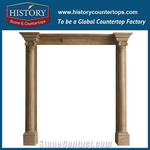 Beige Cream Marfil Marble Stone Carved Roman Column Arch Door ...