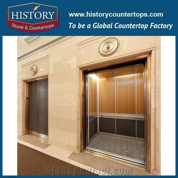 Beige Cream Marfil Marble Stone China Hotel Elevator Entry Door