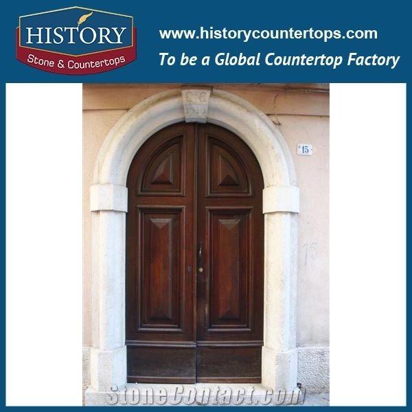 Beige Figure Carving Marble Stone Freestanding Door Surrounds Luxury