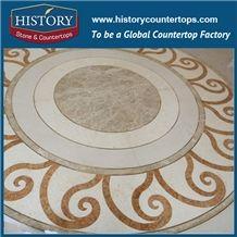 Carrara White, Cream Marfil, Rosso Verona, Light Emperador Marble Designs, Water Jet Cut Mosaic Tiles Supply Swoosh Border Round Medallions