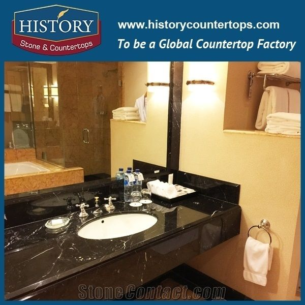 Marble China Nero Margiua Black Custom Vanity Tops Lowes Commercial Bathroom Sink Countertop