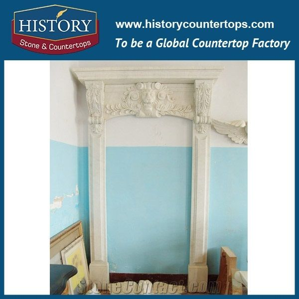 Chinese Supplier Home Decoration Pure White Marble Stone Hand Carved Interior Door Frame Arch Surrounds