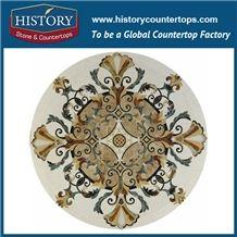 Cream Marfil, Light Emperador, Mint Verde, Rosso Verona Marble Designs Water Jet Decorative Mosaic Shower Floor Tiles Round Flower Medallions