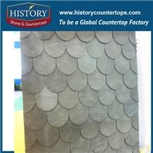 Grey Roof Slate Tile with U Type, Slate Roof Covering Decoration Building Stone