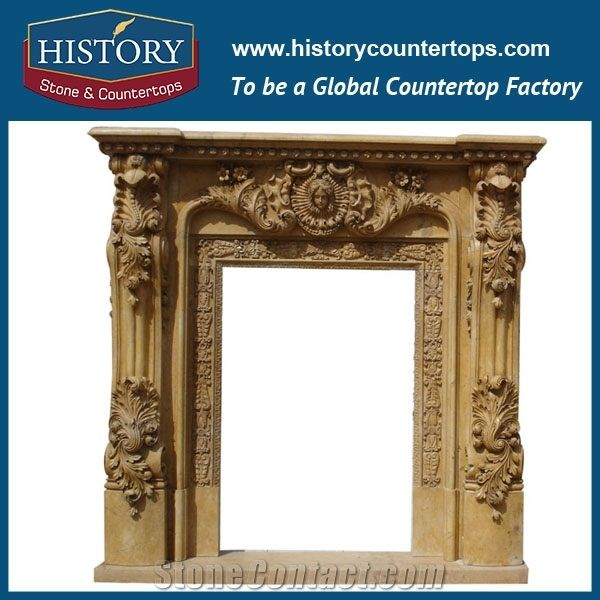 Hand Carved Beige Limestone Decorative Main Door Frame Designs With