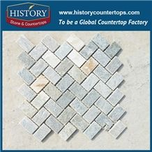 Herringbone Slate Stone Mosaic Fan Shape & Versailles Pattern Natural Multicolor Stone Landscape Decoration