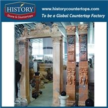 Highly Polishing Beige Marble Removable Carving Door Arch, Door Frames, Arts and Crafts Exterior Door Surrounds