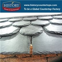 History Stone Black Color Stone Roofing Slate Tiles with Chiseled Edges, U-Shape Roof Covering and Coating