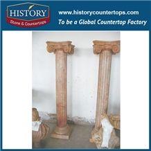 History Stone Exquisite Golden Yellow Square Column Indoor Decorative Pillar