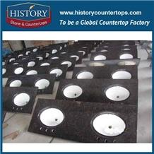 History Stone Hgj016 Tan Brown Double Edge Polished Pre Cut Ornamental Natural Exotic Granite Countertops, Double Vanity Top