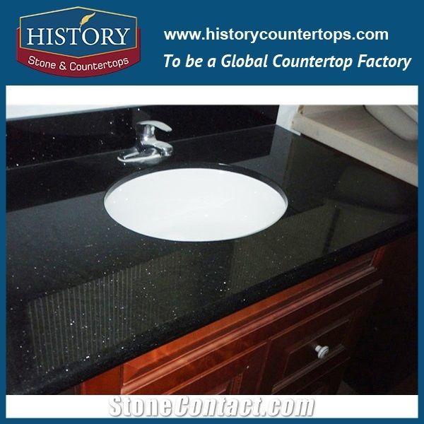 History Stone Hgj021 Galaxy Black Wholesale Beveled Edge Seamless Laminate  Modern Premade Bathroom Construction Material For Countertops U0026 Vanity Top