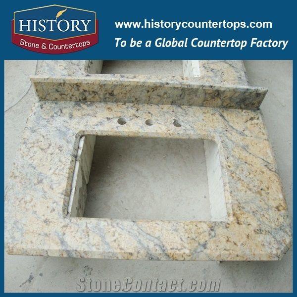 History Stone Hgj108 Sunny Fower Laminate Bullmose Prefab Polishing Granite Indoor Unfinished Countertops Vanity Top For Residental Bathroom