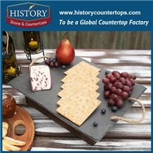 History Stone Natural Black Honed Surface Rectangle Pattern Suspension Type Slate Cutting Board