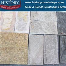 History Stone Tiger Yellow Black Grey Mushroom Slate, Mushroomed Slate Tiles for Wall Cladding