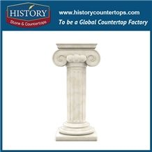 History Stones Professional Design a Grade Quality Marble Column Small Standing Pure White Marble Natural Decorative House Pillars