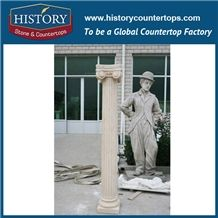 History Stones Western Style Decorative Top Quality Outdoor Park Door Column Indoor Fashionable Galala Beige Marble Stone Pillars