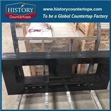 Historystone Black Granite Countertop Vanity Top Polished Bullnose Competitive Price, Bathroom Tops