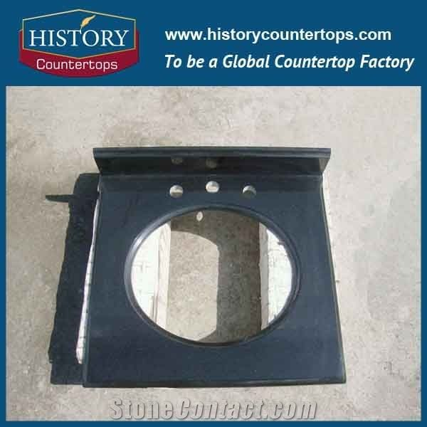 Historystone Black Granite Vanity Top China Absolute Countertop With Drilling Hole For Bathroom Solid Surface In Polished