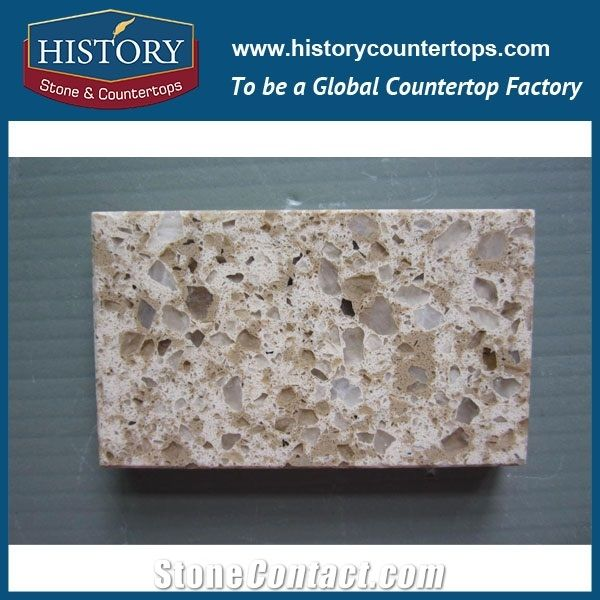 Historystone Dawn Breaks With High Polish Surface Man Made Colorful Granite Tile And Slab Quartz Stone For Kitchen Worktops