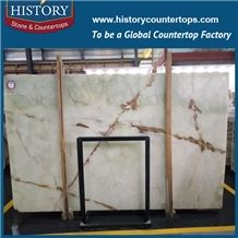 Historystone Green Onyx Tiles and Slabs,Onyx Wall/Floor Covering for Home Decoration in French Pattern
