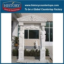 Home Decorative Pure White Marble Stone Entrance Door Frames with Carving Men Statues, Door Arches and Surrounds Stand