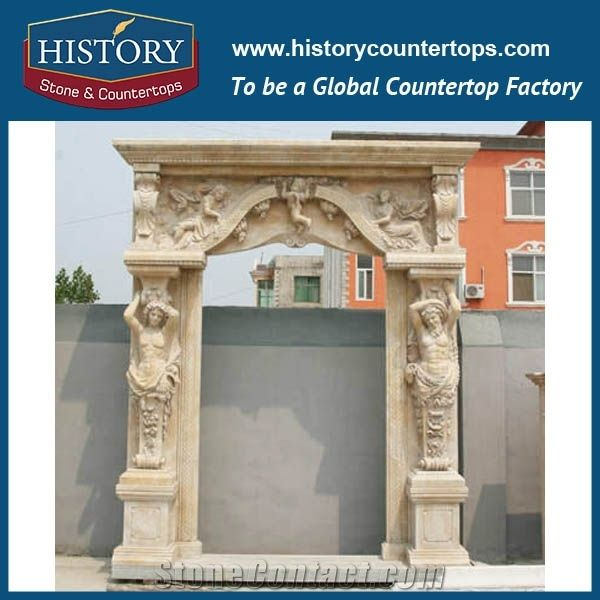 Modern Home Decorative Beige Marble Stone Carved Man