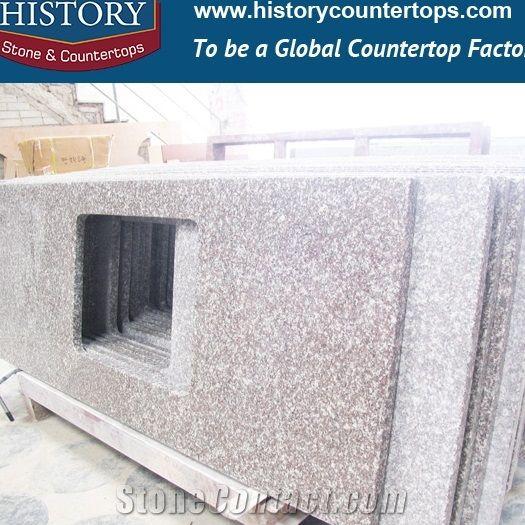 Natural Stone Bainbrook Brown Granite Antique Retail Laminated Premade Size  European Stylish Inlay For Hotel Countertops U0026 Worktops