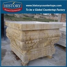 Natural Stone Hand Carving Yellow Sandstone Stone Square Flowerpots Good Quality Supplying Durable Flower Pots Design for Landscape