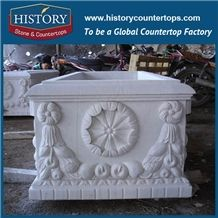 Natural Stone White Marble Carving Flowerpot, Hot Sale Garden Accessory Antique Large Rectangular Flower Planters Boxes, Carved Vases