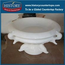 Outdoor Decorative Natural White Jade Marble Round Teacup Shaped Handmade Carving Flowerpots Plant Base, Exterior Flowers Boxes