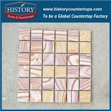 Pink Quartzite Color Mosaic Tile Fantasy Home Depot Wall Decoration Interior Material Polished Surface for Floor or Wall